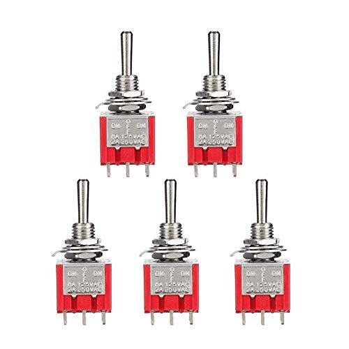 Interruptor de palanca 3PDT, mini interruptor de palanca de 5 piezas, interruptor de palanca en miniatura de encendido/apagado de 9 pines y 3 posiciones, mini interruptor de palanca en min