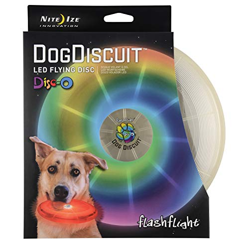 Nite Ize Flashflight LED Dog Discuit - Best Dog Flying Disc For All Hours of Play - With Long-Lasting LED Light, 1-Pack Multi-Colored Disc-O (FFDD-07-R8)