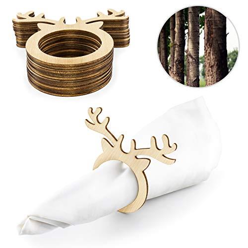 Yolife 10 Stück Weihnachts-Serviettenring aus Holz mit Rentier-Ring-Halter für Weihnachten, Party, Esstisch