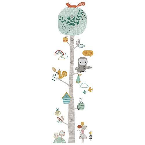 W-L Gráfica de Altura Linda del árbol forestal de medida Tabla de etiqueta de la pared for el sitio de niños de guardería crecimiento infantil Vinilos decorativos regalo del bebé del sitio Animal Deco