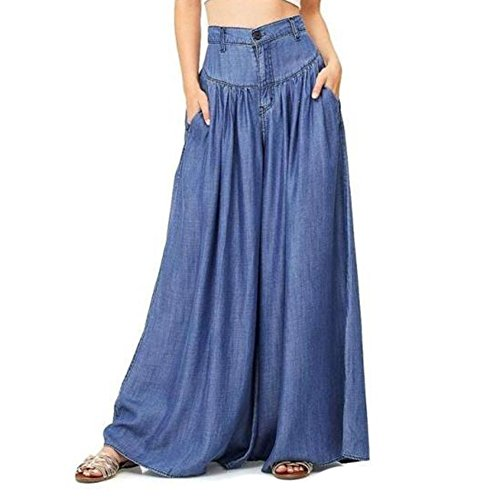 Mujer Ancho Pierna Pantalones - Moda Cintura Alta Loose Fit Leggings con Bolsillos Casual Pantalon Largo Streetwear Tallas Grandes