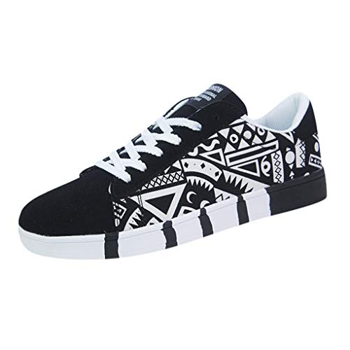 Skxinn Herren Junge Graffiti Sportschuhe Casual Lace-Up Colorfor Canvas Sneakers Schnürschuhe Mode Herrenschuhe Bequem Atmungsaktiv Gr 39-44(Weiß,42 EU)