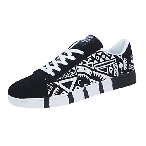 Skxinn Herren Junge Graffiti Sportschuhe Casual Lace-Up Colorfor Canvas Sneakers Schnürschuhe Mode Herrenschuhe Bequem Atmungsaktiv Gr 39-44(Weiß,44 EU)