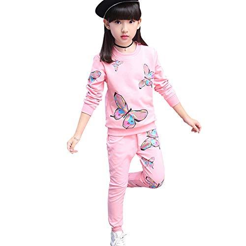 LSHEL Kinder Sportanzug Mädchen Jogginganzug Pullover + Hose Trainingsanzug, Rosa, 134/140