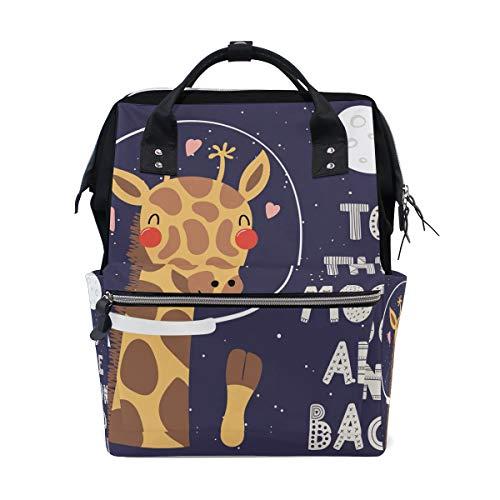 Leuke Giraffe naar de maan en rug rugzak luiertas Tas voor mama vrouwen baby luiertas Travel rugzak grote school laptop wandelen tas outdoor