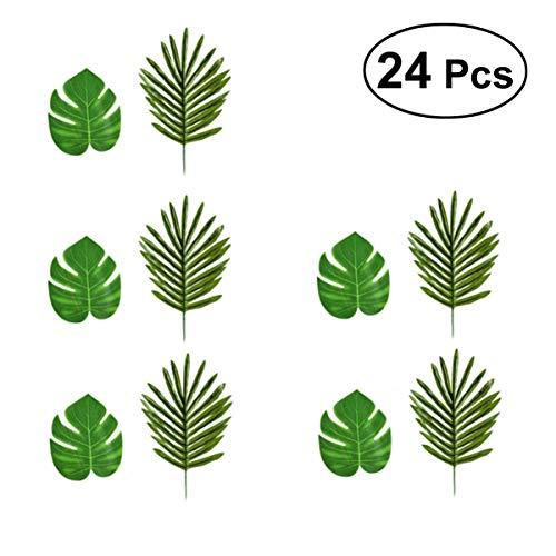 LIOOBO 24 Stücke Künstliche Tropische Palmblätter mit Stielen für Safari Dekorationen Tropische Partei Liefert Dschungel Strand Luau Thema Party Dekorationen