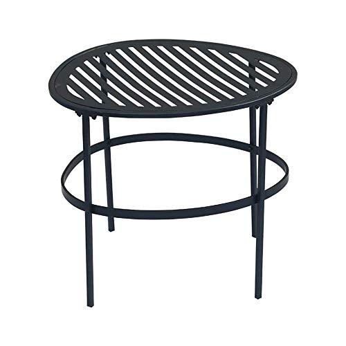 YO-TOKU Tavolino a forma e linee semplici combinate con moderno tavolino da caffè in metallo nero, facile da montare, multiuso per interni ed esterni, decorazione vintage (dimensioni: 44 x 3 cm)