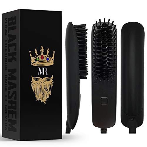 BLACK MASREM Plancha Barba 2 EN 1 ● Alisador de Barba y cabellos concebido para hombre ● Peine para el mantenimiento del cabello y el cuidado de la barba ● Temperatura regulable