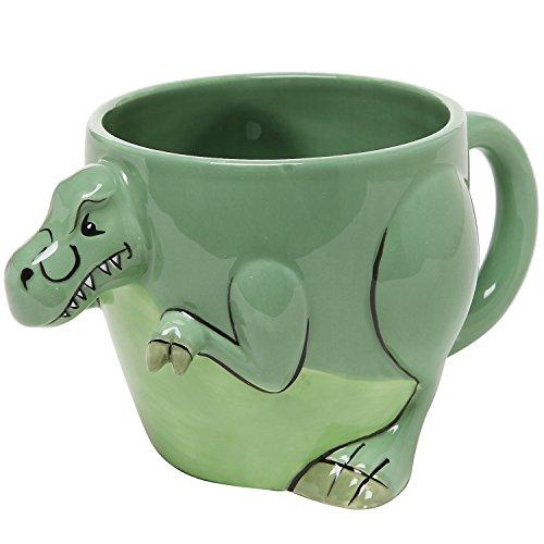 3-D Shaped T-Rex Dinosaur Design Ceramic Mug/Novelty Cup/Decorative Drinkware, Green - MyGift Home