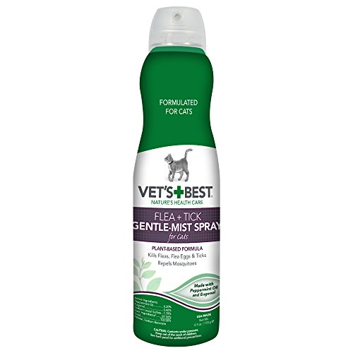 Vet's Best Flea and Tick Gentle-Mist Spray for Cats, 6.3 oz, USA Made