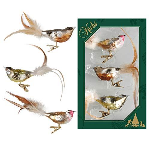 Krebs glas Lauscha - vogels op clip kerstboomversiering - glazen sieraden - set van 3 Natuurlijke kleur.