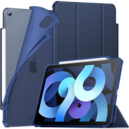 INFILAND Funda Case para iPad Air 4 Generación,iPad 10.9 Inch 2020 Cover Soporte,[Auto-Reposo/Activación Cubierta] [Espalda translúcida Mate] [Carcasa Ligera] [Ultra Delgada Estuche],Azul Oscuro