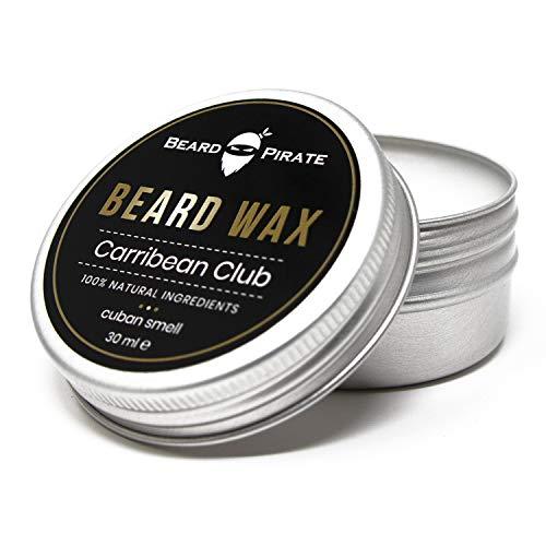 Beard-Pirate® Bartwachs Carribean Club 30ml - Beard Balm Made in Germany - 100% natürliche Inhaltsstoffe - Bart Balsam für eine exzellente Bartpflege mit Rizinusöl