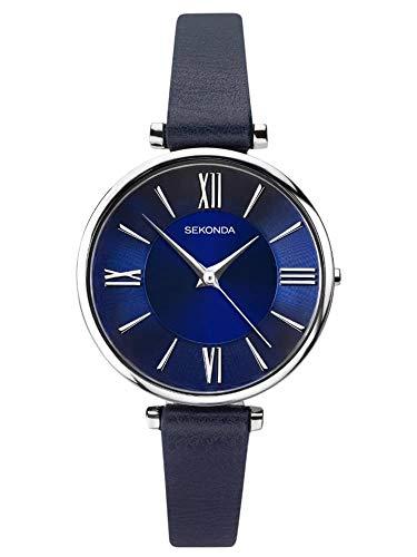 Sekonda 2844 - Reloj de Pulsera para Mujer (Acero Inoxidable, Esfera Azul Oscuro, Correa de Piel)