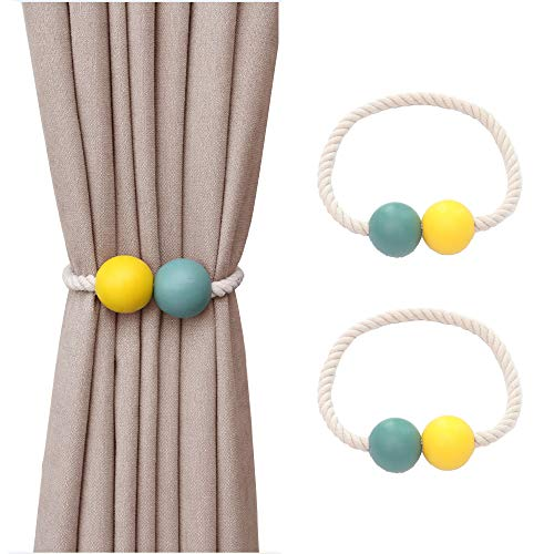 Hggzeg Magnetische Vorhang-Raffhalter, 2 Stück Holz Vorhang Holdback Schnallen Vorhang Clips Seil für Zuhause, Büro, Hotel Fenster Dekor (blau + gelb)