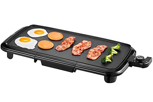 """Kealive Griddle, Electric Grill Griddle 1500W with Drip Tray, 10""""x20"""" Family-Sized"""
