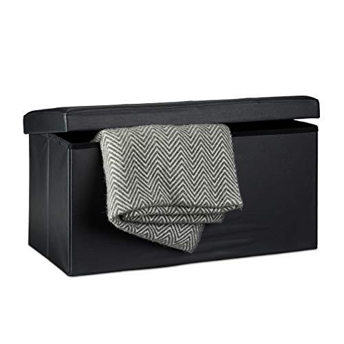 Relaxdays Faltbare Sitzbank 38 x 78 x 38 cm HxBxT, 2-Sitzer m. Stauraum, Kunstleder Sitzhocker 300 kg belastbar, schwarz