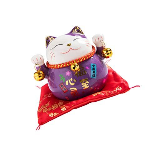 GARNECK Hucha de cerámica con diseño de gato Neko Lucky Cat Coin Bank Feng Shui Piggy Box Luck And Fortune de la colección estatua para el año 2021 New Year Ornament (Purple)