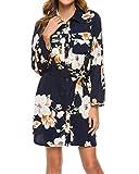 MINTLIMIT - Mini abito da donna, a maniche lunghe, con cintura Fiori neri. S