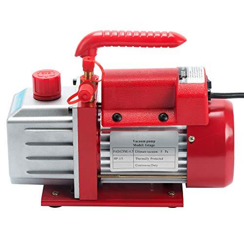 Orion Motor Tech 4,5 CFM Einstufige Vakuumpumpe Unterdruckpumpe 1/3 HP Vakuumgeräte Pumpe 220V Luftvakuumpumpe (4,5 CFM)