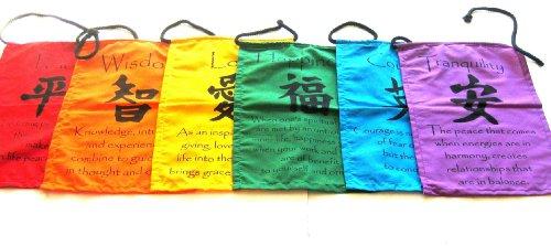 OMA Prayer Flag Chakra Wall Hanging Decor Tibetan Prayer Flag Banner Tibetian Buddha Quotes - XLG.-Professional Quality Brand