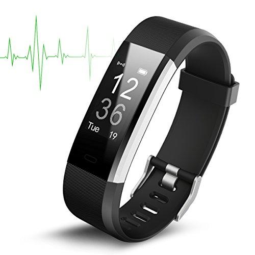 Reloj inteligente impermeable IP67, rastreador de actividad con monitor de frecuencia cardíaca, pantalla OLED de 0,96 pulgadas, Bluetooth 4.0, podómetro, inalámbrico y carga USB