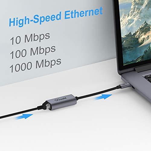 QGeeM USB C auf Ethernet Adapter, Typ C Gigabit Ethernet Adapterkabel, Thunderbolt 3 auf RJ45 LAN-Konverter, kompatibel mit MacBook Pro, RJ45 auf USB C Adapter