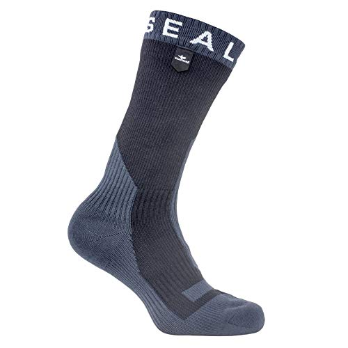 SEALSKINZ Unisex Waterproof Extreme Cold Weather Mid Length Sock, Black/Anthracite, Medium