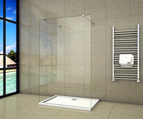 Aica Sanitär Freistehende Duschwand Walk In Dusche 97cm Duschabtrennung 10mm NANO Glas Duschtrennwand 200cm Höhe