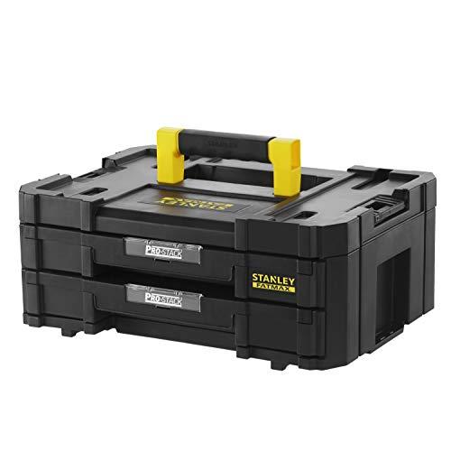 Stanley FMST1-71969 FatMax Pro-Stack Werkzeugkoffer (8L Fassungsvermögen, mit 2 Schubladen und Organizern für Kleinteile, mit Metallschließen, mit herausnehmbaren Innenteilern, Schwarz