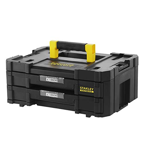 Stanley FMST1-71969 FatMax Pro-Stack Werkzeugkoffer (8L Fassungsvermögen, mit 2 Schubladen und Organizern für Kleinteile, mit Metallschließen, mit herausnehmbaren Innenteilern