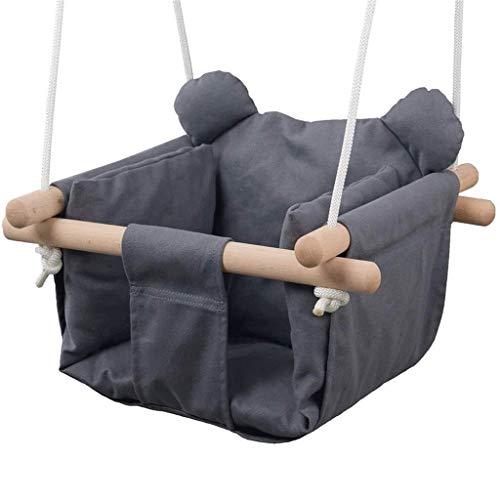 LUGEUK Asiento de Hamaca de Swing de Lienzo con Orejas de Oso Gris, Adecuado para niños pequeños, Adecuado para bebés de 6 Meses a 3 años