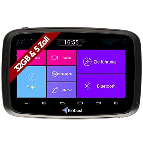 Elebest Rider AM500 Pro Motorrad Android 6.0 Navigationsgerät 32GB Speicher 5 Zoll HD Display Stabile Lenkerhalterung - Bluetooth - W-LAN - Wasserdicht