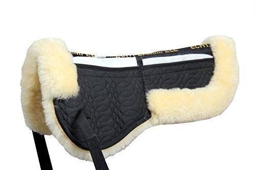 Merauno Lammfell Korrektur Pad Korrektur Half Saddle Pad Gesteppte Baumwolle 4 Taschen mit Memory-Foam-Einsätze (Natur Lammfell + Schwarz Gesteppte Baumwolle)