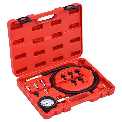 vidaXL Kit de Comprobación de Presión de Aceite 12 Piezas Probadores Automóvil Herramienta de Prueba de Diagnóstico Carro Accesorios