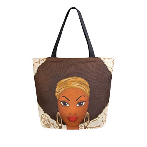 ALAZA Large Canvas Tote Bag Portrait Of African American Woman Shopping Shoulder Handbag with Small Zippered Pocket