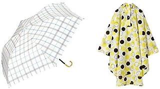 【セット買い】ワールドパーティー(Wpc.) 日傘 折りたたみ傘 ブルー 50cm レディース 傘袋付き 遮光ガーリーチェックミニ 801-7798 BL+レインコート ポンチョ レインウェア ムーン FREE レディース 収納袋付き R-1093