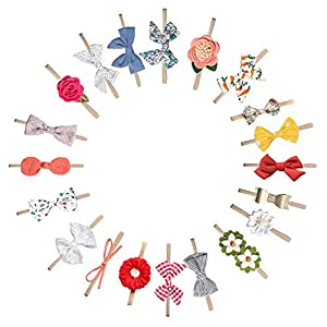 20 Pcs Baby Girl Headbands and Bows flower, Newborn Infant Toddler Hair Accessories Gifts
