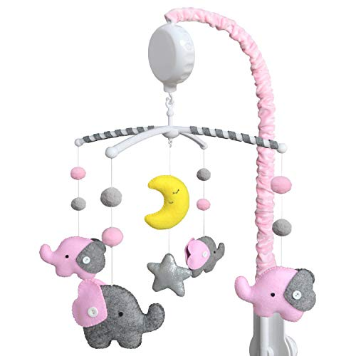 EVERLOVE | Elephant Musical Crib Mobile for Baby Girls | Digital Music Box with 15 lullabies