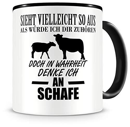 Samunshi® Ich denke an Schafe Tiere Tasse Kaffeetasse Teetasse Kaffeepott Kaffeebecher Becher H:95mm/D:82mm schwarz