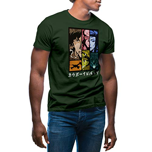 GR8Shop Cowboy Bebop Color Anime Characters TV Camiseta Verde Militare para Hombre...