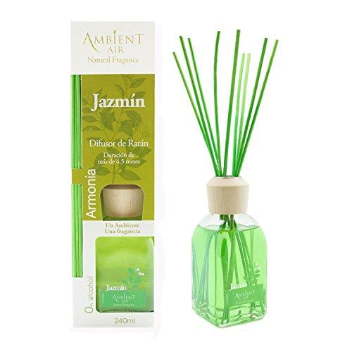 Ambientair Classic. Difusor de varillas perfumadas. Ambientador Mikado aroma Jazmín. Difusor 240 ml con palitos de ratán. Ambientador para Hogar sin alcohol.