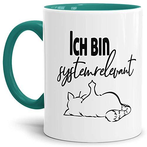 Tasse mit Spruch - Systemrelevant - Katze - Kaffee-Tasse/Arbeit/Job/Lustig/Erinnerung Krise Virus 2020 - Innen & Henkel Türkis
