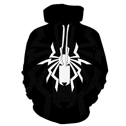 Novedad Sudaderas con Capucha De Spiderman Niños Sudaderas De Superhéroe Traje con Capucha Anime Jumper Primavera Otoño Pullover Hoody Casual Sports Suéter Abrigo,Black-Adult~XL