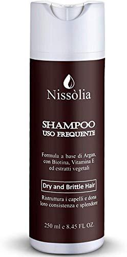 Champú reestructurante para cabello rizado con aceite de argán con biotina, vitamina E y extractos de plantas - 250 ml