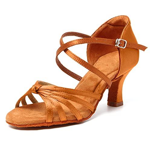 HRYOL Zapatos de Baile Latino Mujer Salsa Zapatos Baile de Salon Modelo-WH001 Marrón 38 EU