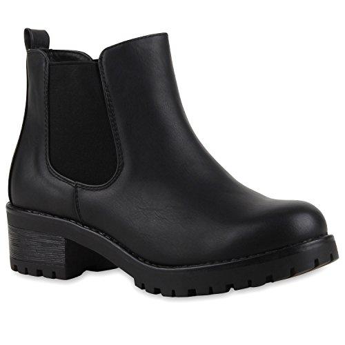 Stiefeletten Damen Chelsea Boots Profilsohle Blockabsatz Leder-Optik Booties Schuhe 126267 Schwarz Glatt Bernice 37 Flandell