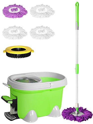 Enya Balai facile 2 en 1 Balai rotatif 360 ° Balai serpillière rotatif Magic Spin et seau Set + 4 têtes de nettoyage en microfibre en nylon pour brosse à récurer.