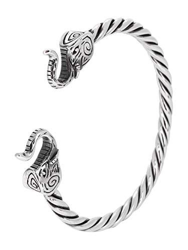 TreasureBay Pulsera clásica de plata de ley 925 con diseño de elefante para mujeres y hombres