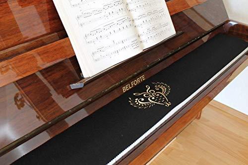 Klavierläufer Tastenläufer Tastaturabdeckung für Klavier Tastendecke bestickt 100% Wolle Schwarz 340